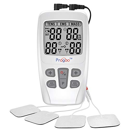 Progoo 2019 New TENS Unit EMS Muscle Stimulator Pain Relief FDA Cleared Combo with 8 Reusable Electrodes, Seniors Unit for Pain,Free from Pain (Firday It)