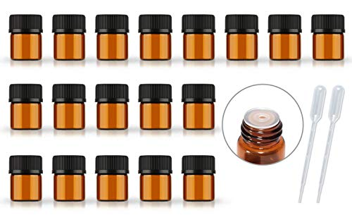 50Pack Set 1ML 2ML 5ML Amber Glass Bottle with Orifice Reducer and Cap Small Essential Oil Vials -