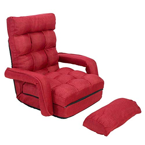 JAXPETY Folding Lazy Sofa Floor Chair Sofa Lounger Bed Armrests a Pillow Red