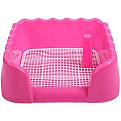 ZFH Pet Toilet Litter Box Potty Corner Bedding Trainer Removable Grid Easy to Clean No Residue Build Up Never Absorbs Odor and It's Completely Rust Free,Pink,Small