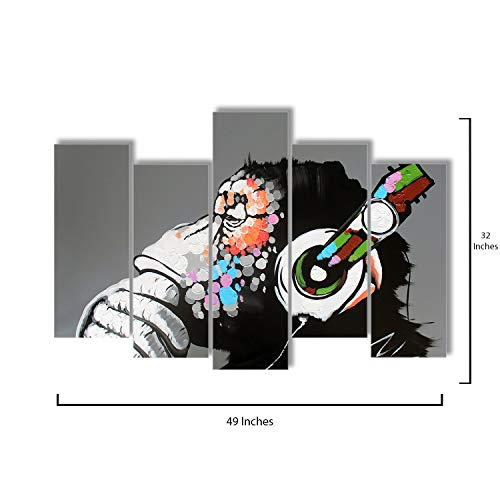 Pop Layout - 5 Piece Canvas Wall Art - Thinking Gorilla Monkey Music - Modern Home Decor Stretched and Framed Ready to Hang - 49