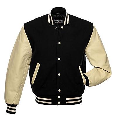 C125 Black Wool Cream Leather Letterman Jacket Varsity Jacket