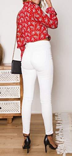 Court Blouse Automne Printemps Gros Chemises Mode Bandage Imprime Casual Rouge Shirts Tops Hauts avec Femmes Chemisiers Flare Sleeve gRYvq