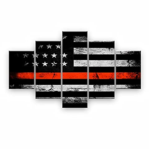 Retro American flag canvas print art black and white red home decor wall art Independence Day pictures for living room 5 panel large poster painting Framed Ready to (Red And Black Canvas Art)