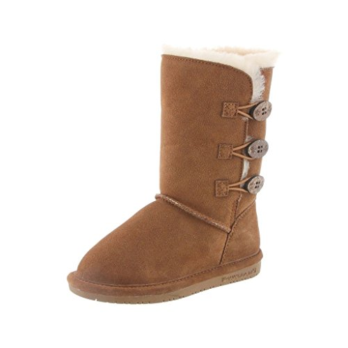 [Bearpaw Boots Girl Lauren Toggle Suede Sheepskin 3 Child Hickory 1656Y] (Brown Boots For Kids)