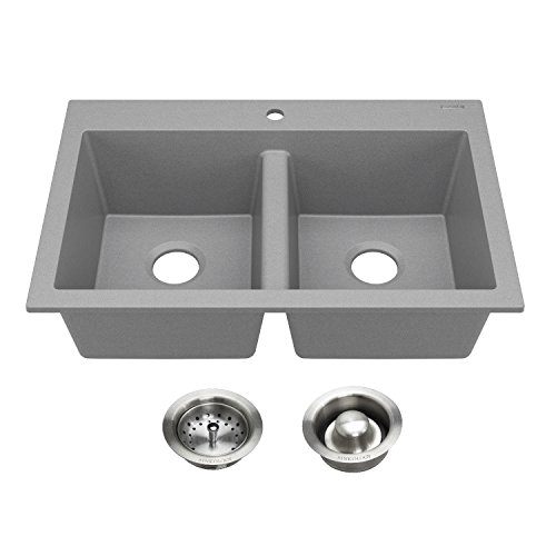 - Sinkology SK601-33GY-AMZ-BD Whitney Drop-in or Undermount Granite Composite 33 in. Double Bowl Graphite Gray with Stainless Drains Kitchen Sink, 33 x 22 x 9,