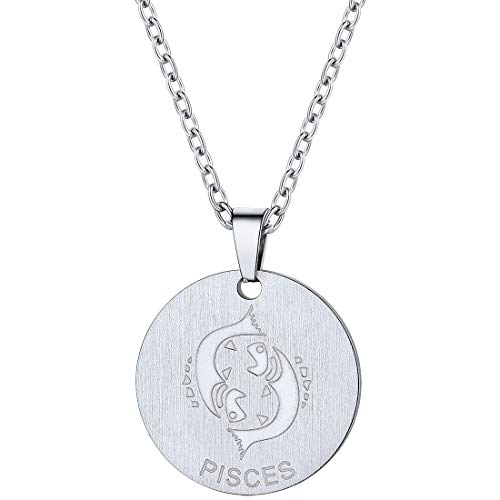 PROSTEEL Pisces Zodiac Star Sign Coin Necklace Stainless Steel Constellation Horoscope Pendant Men Women Jewelry Birthday Gift