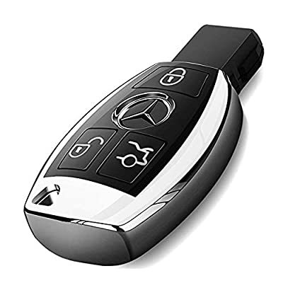 Intermerge for Mercedes Benz Key Fob Cover, Premium Soft TPU Key Case Cover Compatible with Mercedes Benz C E S M CLS CLK G Class Keyless Smart Key Fob_Silver: Automotive