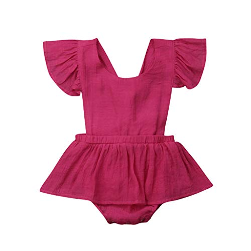 (LiLiMeng Toddler Baby Kid Girls Solid Ruffles Short Sleeve Round Collar Romper Dress Sunsuit Jumpsuit Clothes Pleated Skirt Hot Pink)