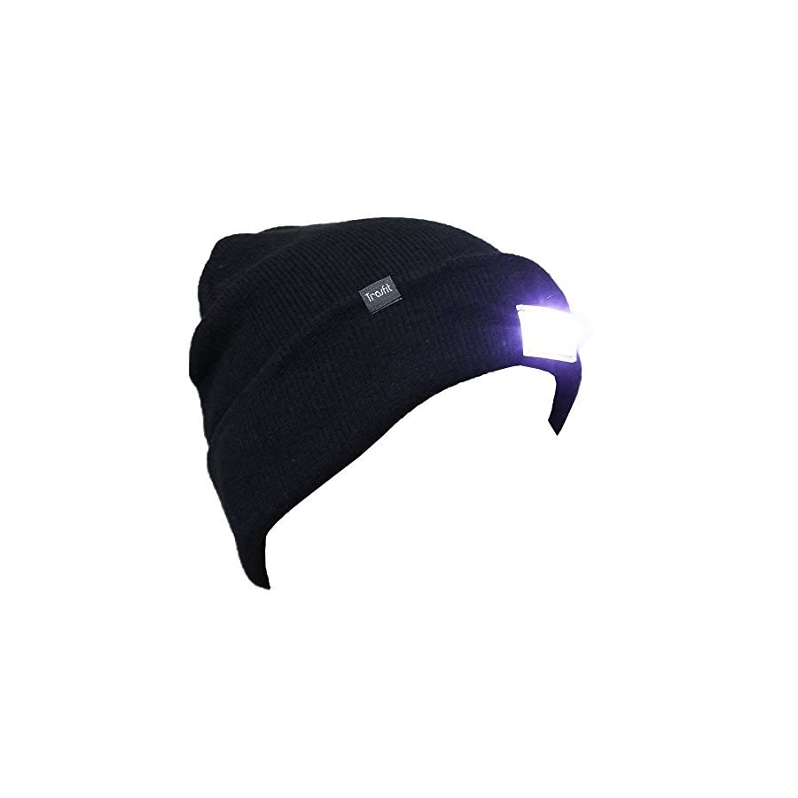 Trasfit Unisex 5 LED Knitted Beanie Hat for Camping, Grilling, Auto Repair, Jogging, Walking, or Handyman Working, Hands Free Led Beanie Cap