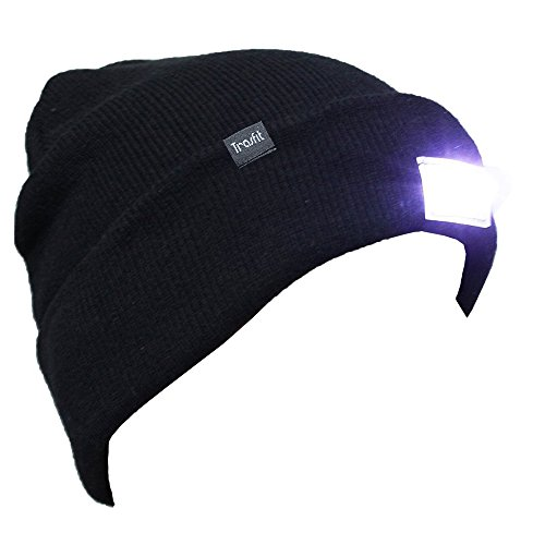 Led Cap (Trasfit Unisex 5 LED Knitted Beanie Hat for Camping, Grilling, Auto Repair, Jogging, Walking, or Handyman Working, Hands Free Led Beanie Cap (BLACK) )
