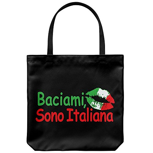 Tote Bag Italy Themed - Kiss Me I'm Italian Casual & Big but Stylish Poplin Shoulder Handbag for Work & Travel But I Italian Handbag