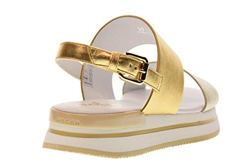 Hogan Platino Chaussures Sandales H257 Double HXW2570AI30SV04341 Band Oro 4Av4x