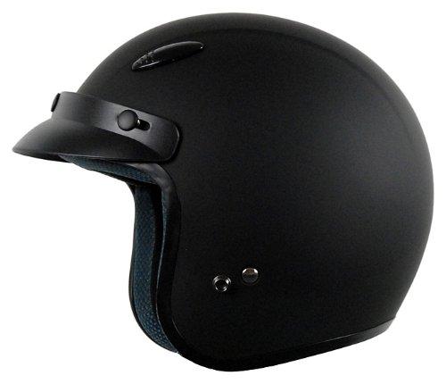 Vega X-280 Rubber Open Face Helmet (Flat Black, XX-Large)