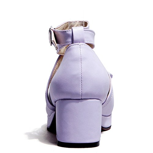 Moyens Talons 2 Taoffen Purple Femmes Escarpins Bowknot qtxSnpES