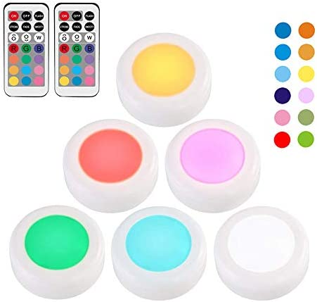 6 Pcs RGB 12 Colors Wireless LED Puck Lights LED Under Cabinet Light with Remote Control, Battery Powered Dimmable Touch Sensor Closet Light Cupboard Wardrobe Stair Hallway Night Lamp