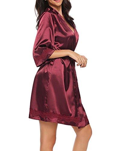 Corto Raso Donna a S a da XXL 3 V e Notte Manica Notte Pigiama Kimono Rosso da Scollo Unibelle Camicia in Pizzo 4 Vestaglia Nightdress wZqdII