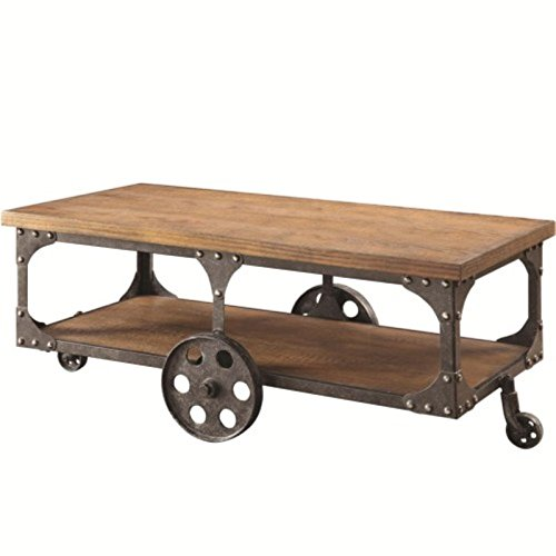 Coffee Wheels Table (Coaster Traditional Cherry Coffee Table with Shelf)
