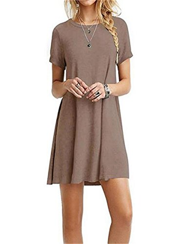 Gris Shirt col Dcontract pour Manches Tee Rond Femmes Dcontract Courtes Dayumoo vW51wxgqn