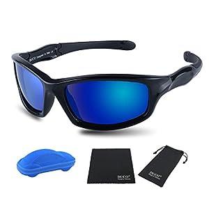 Duco Kids Sports Style Polarized Sunglasses Rubber Flexible Frame For Boys And Girls K006 (Black Frame Black Temple Revoblue Lens, 55)