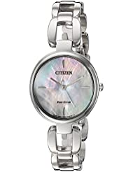 Citizen Womens Eco-Drive L Quartz Stainless Steel Dress Watch, Color:Silver-Toned (Model: EM0420-54D)