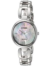Citizen Women's 'Eco-Drive L' Quartz Stainless Steel Dress Watch, Color: Silver-Toned (Model: EM0420-54D)