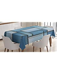 Ambesonne Country Tablecloth, Patchwork of Different Size Blue Toned Shapes Pattern with Vertical Warp Beam Artprint, Dining Room Kitchen Rectangular Table Cover, 60 W X 90 L inches, Blue