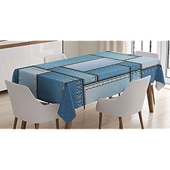blue denim 60 inch round table cloth home kitchen. Black Bedroom Furniture Sets. Home Design Ideas