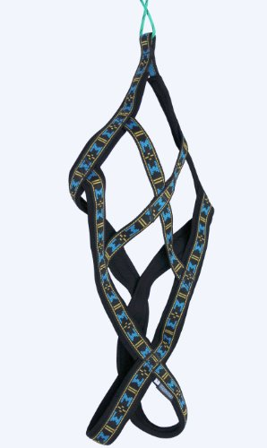 Weight Pulling Sledding Dog Harness X-Back Style Black/Blue XLarge, 22.5' Neck Circumference.