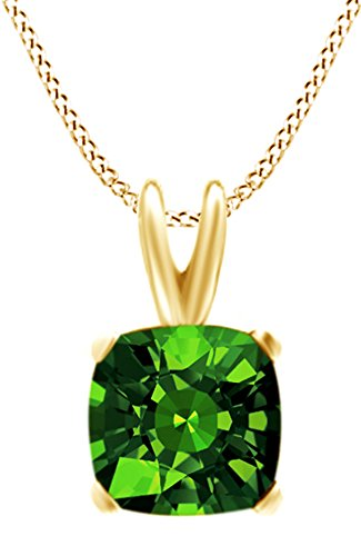 Jewel Zone US Cushion Cut Simulated Green Emerald Pendant Necklace in 14k Gold Over Sterling Silver(4 Ct) ()