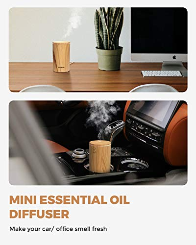 muson Mini Essential Oil Diffuser Aroma Cool Mist Humidifier for Car Office Travel with Colorful Mood Lights USB Powered Ultra Quiet Waterless Auto Off 100 ml Wood Grain