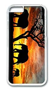 MOKSHOP Adorable Elephants Silhouette Hard Case Protective Shell Cell Phone Cover For Apple Iphone 6 Plus (5.5 Inch) - PC Transparent