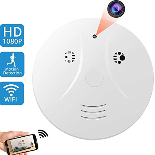 Upgraded WiFi Hidden Spy Camera Smoke Detector Camera,AMCSXH HD 1080P Wifiless Nanny Cam with Motion Detection for Home Security,Video Camera Support Loop Recording/Night Vision