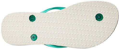 Havaianas Frauen Slim Logo Pop Up Offener Zeh leger Flip Flops White/Lake Green