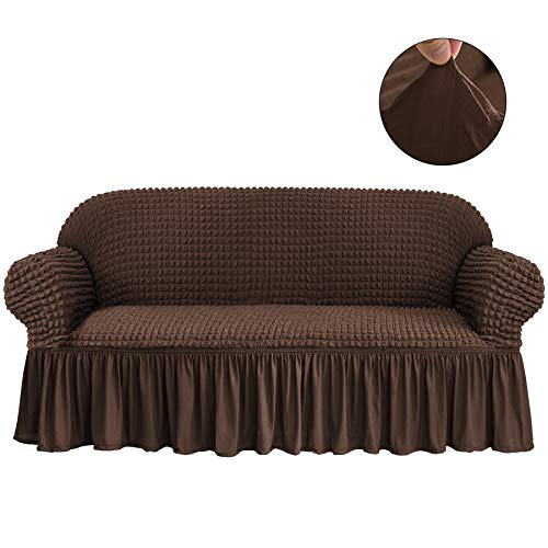 CHUN YI 1-Piece All-Purpose Universal Easy Fitted Sofa Couch Cover Stretchable High Elasticity Durable Furniture Protector 3 Seats Sofa Slipcover with Skirt (Sofa, Chocolate)