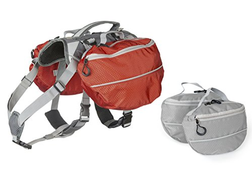 Dog Backpack for Hiking - Large and Small Saddlebag Sets for Camping or Hunting - Lightweight Harness - Removable Backpacks. Medium-Large Dogs. (Red and Grey)