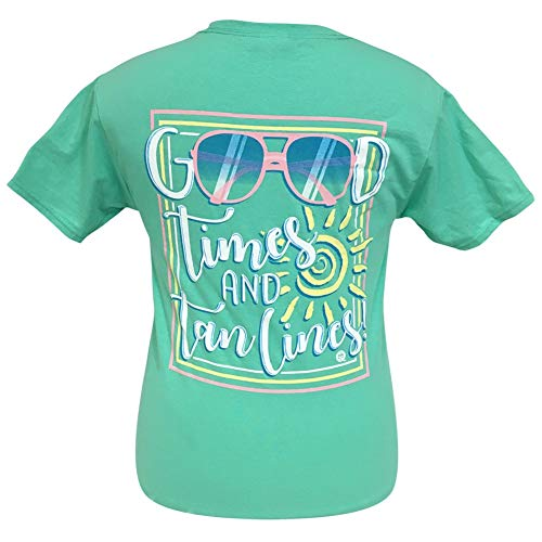 Girlie Girl Originals Good Times and Tan Lines Cool Mint T-Shirt, Large