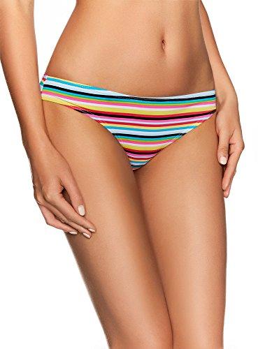 oodji Ultra Donna Bikini Pezzo Sotto a Righe Multicolore (8073s)
