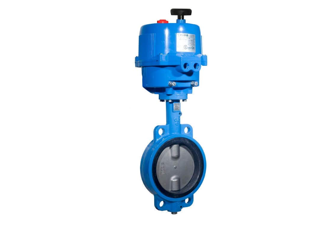 1-1/2'' Bonomi E500S - Wafer Stlye, Epoxy Coated Cast Iron, Stainless Steel Disc, Butterfly Valve, with Electric Actuator