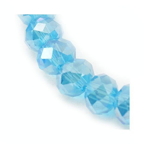 (Strand 95+ Cyan Czech Crystal Glass 4 x 6mm AB Faceted Rondelle Beads HA20340 (Charming)