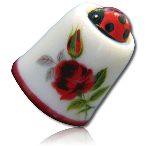 Custom & Collectible {25mm Hgt. x 19mm Dia.} 1 Single, Mid-Size Sewing Thimble Made of Fine-Grade Porcelain Glass w/ Decorative Outdoor Nature Lover Garden Lady Bug Insect & Rose Design {Multicolor}