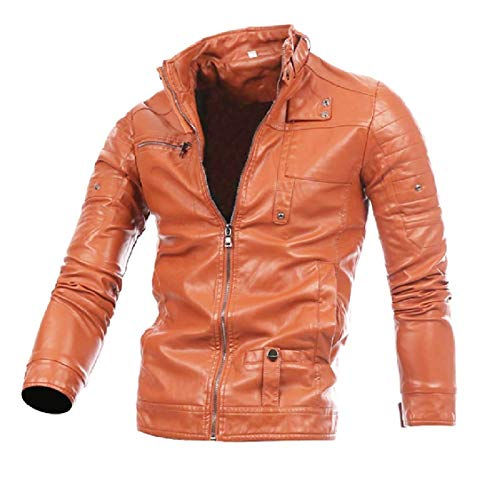 Zips Biker up Solid Pu Brown with Fashional Light Leather Stand Collar Energy Men's Motorcycle Jacket wIAqZ1xB