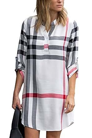 ESONLAR Blouse for Women Plaid V Neckline High Low Hemline Mini Shirt Dresses White S