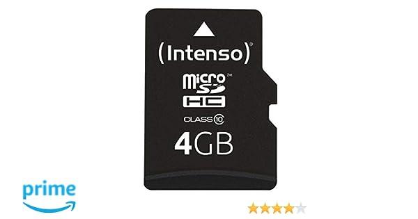 Intenso 3413450 Micro Tarjeta de Memoria SD 4 GB Grado 10 con SD Adaptador, Negro