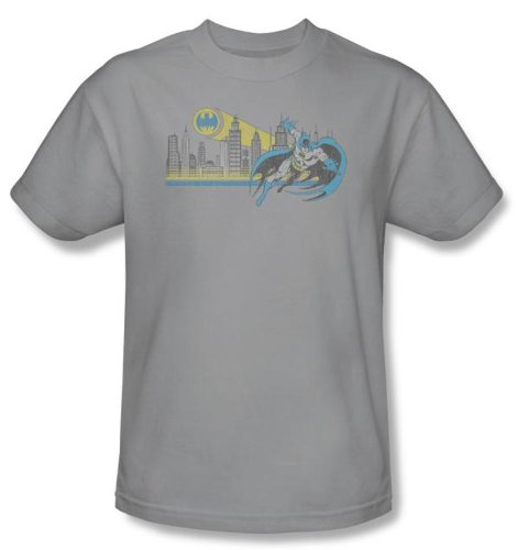 Batman+Retro+Shirts Products : Batman And Robin Kids T-shirt - Gotham Retro DC Comics Silver Youth