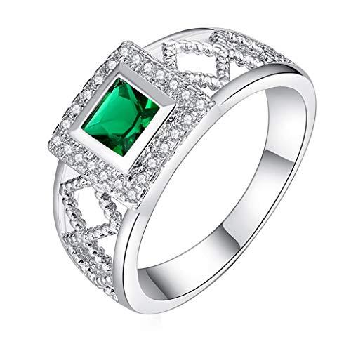 Women's Knot Ring Women Sleek Minimalist Couple Pair Green Diamonds Set Zircon Square Openwork Ring Women's Wedding & Engagement Rings Silver ()