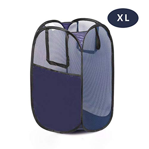 ganamoda Mesh Laundry PopUp Hamper- Foldable Pop-Up Mesh Hamper with Reinforced Carry Handles, Collapsible for Storage and Easy to Open, Portable Blue