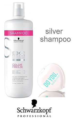 Schwarzkopf BC Bonacure Color Freeze SILVER Shampoo for grey and lightened hair (with Sleek Compact Mirror) (33.8 oz / 1000ml - large liter size)