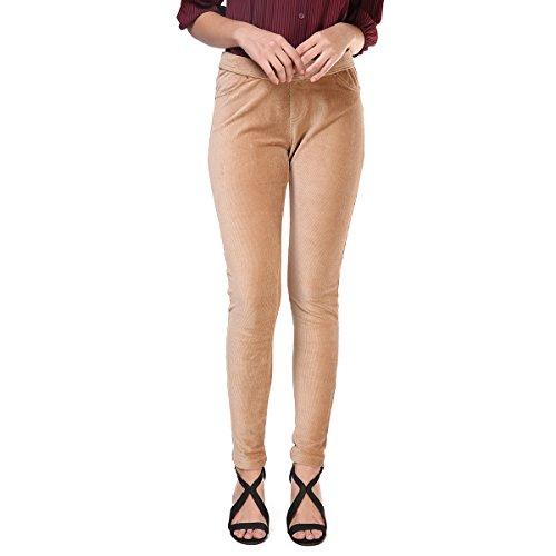 FRENCH BAZAAR Women's Skinny Stretch Corduroy Pants Trousers with Pockets (Khaki,XL)