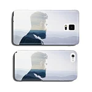 Double exposure concept with bearded man and landscape cell phone cover case iPhone6 Plus